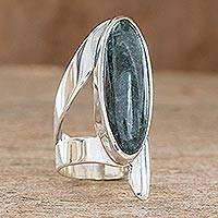 Jade cocktail ring, 'Nature Immortal' - Handcrafted Good Luck Sterling Silver Jade Cocktail Ring