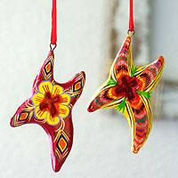 Ceramic ornaments, 'Joyous Pinwheels' (set of 6)