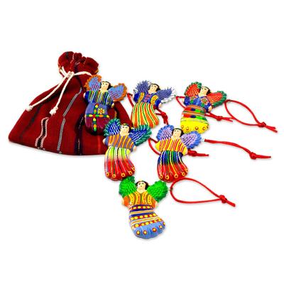 Ceramic ornaments, 'Wishing Angels' (set of 6) - Handcrafted Angel Ceramic Ornaments (Set of 6)