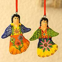 Ceramic ornaments, 'Happy Angels' (set of 6)