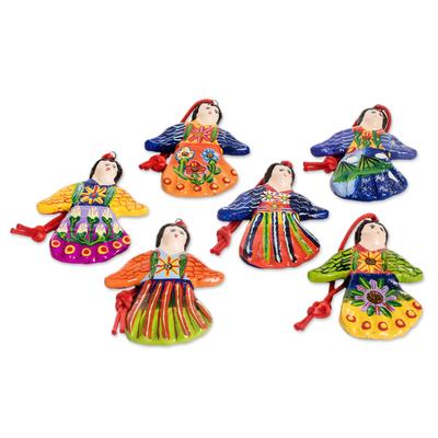 Ceramic ornaments, 'Happy Angels' (set of 6) - Ceramic ornaments (Set of 6)