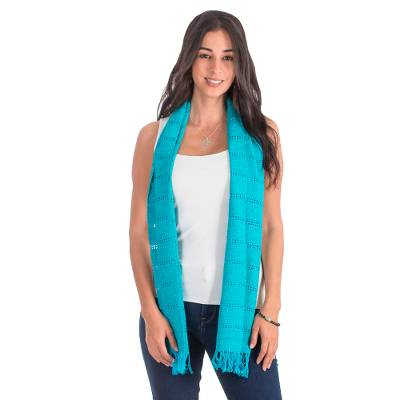 Cotton scarf, 'Sea Dreams' - Cotton scarf