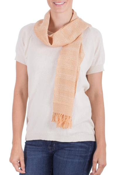 Handcrafted Peach Beige Cotton Patterned Scarf from NOVICA