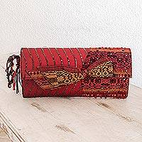 Beaded rayon clutch handbag, 'Atitlan Red' - Beaded rayon clutch handbag