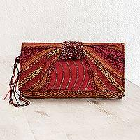 Beaded rayon clutch handbag, 'Atitlan Scarlet' - Beaded rayon clutch handbag