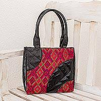 Leather accent cotton shoulder bag, 'Santa Maria Red' - Leather accent cotton shoulder bag