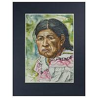 'Elderly Chorti Woman' - Original Realist Watercolor Painting