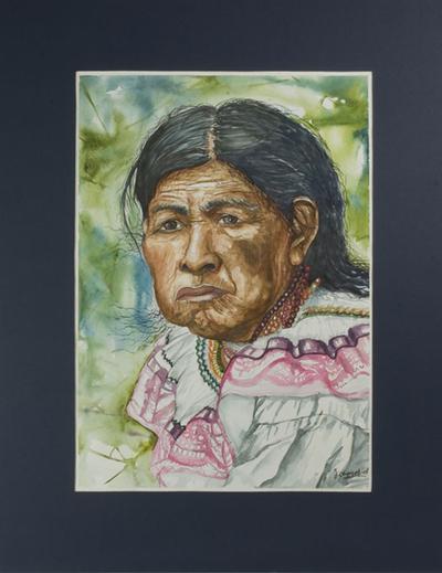 'Elderly Chorti Woman' - Original Realist watercolour Painting