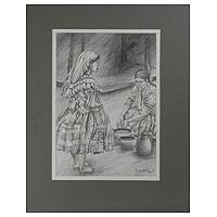 'Buying Clay Pots' - Graphite Drawing with Mat Board Frame