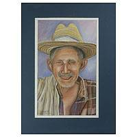'Elderly Chorti Man' - Central American Matted Pastel Painting