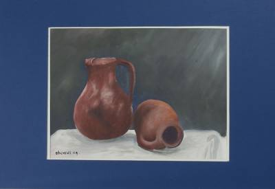 'Clay Jars' - Still Life Realist Acrylic Painting