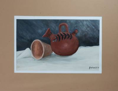 'Clay Jar and Glass' - Still Life Acrylic Painting