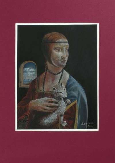 'Lady with an Ermine' - Pastel Realist Painting