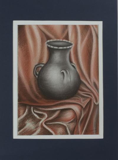 'Black Clay Jar' - Original Matted Pastel Still Life