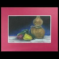 'The Gourd Bottle' - Original Pastel Still Life Realist Painting