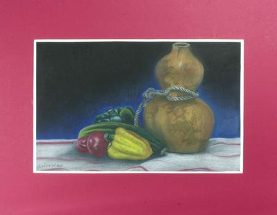 'The Gourd Bottle' - Original Pastel Still Life Realist Painting