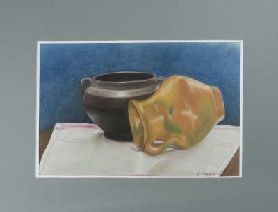 'Clay Jar and Pot' - Central American Still Life Realist Painting