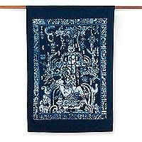 Cotton batik wall hanging, 'King Pakal' - Cotton batik wall hanging