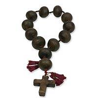 Ceramic wall rosary, 'Achi Cross' - Artisan Crafted Ceramic Rosary Wall Art