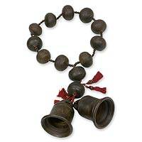 Ceramic wall rosary, 'Achi Bells' - Handmade Ceramic Decorative Wall Rosary