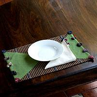 Cotton placemats and napkins, 'Heart of the Forest' (set for 2) - Cotton placemats and napkins (Set for 2)
