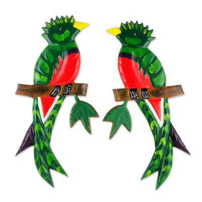 Pinewood wall sculptures, 'Quetzal Birds' (pair) - Hand Carved Wood Wall Sculptures (Pair)