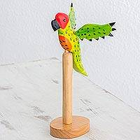Pinewood sculpture, 'Perky Parrot' - Pinewood sculpture
