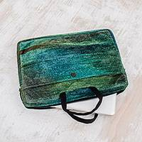 Bamboo chenille and cotton laptop case, 'Iridescent Jade' (14 inch) - Bamboo chenille and cotton laptop case (14 inch)