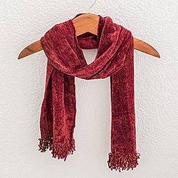 Cotton blend scarf, 'Scarlet Dreamer' - Rayon and Cotton Blend Scarf