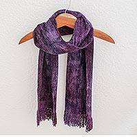 Cotton blend scarf, 'Orchid Dreamer' - Central American Artisan Crafted Adjustable Cotton Scarf