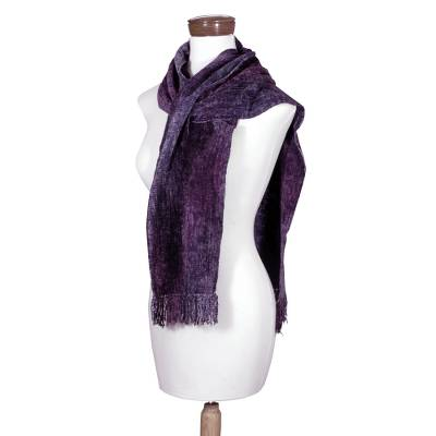 Cotton blend scarf, 'Orchid Dreamer' - Bamboo chenille and cotton scarf