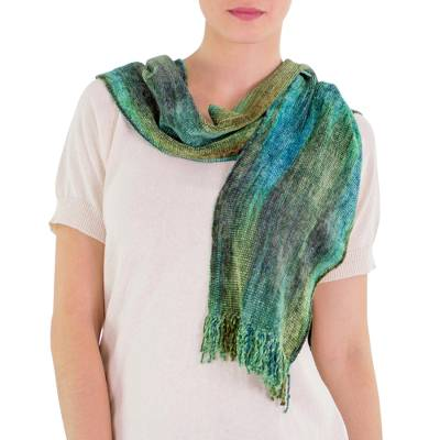 Cotton blend scarf, 'Emerald Dreamer' - Handcrafted Bamboo Chenille Cotton Blend Scarf