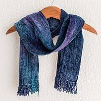 Cotton blend scarf, 'Sapphire Dreamer' - Fair Trade Bamboo Chenille and Cotton Scarf