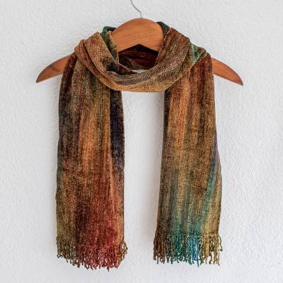 Cotton blend scarf, 'Summer Dreamer' - Fair Trade Cotton Blend Bamboo Chenille Scarf