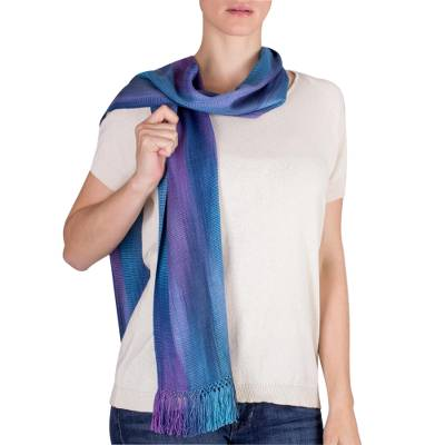 Rayon chenille scarf, 'Solola Sapphire' - Women's Bamboo fibre Handmade Scarf