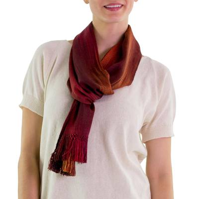 Rayon chenille scarf, 'Solola Sunset' - Handcrafted Red Ombre Bamboo fibre Scarf