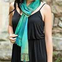 Rayon chenille scarf, 'Solola Valley' - Artisan-Made Blue and Green Bamboo Scarf