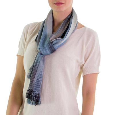 Rayon chenille scarf, 'Solola Rainfall' - Hand Made Bamboo fibre Scarf