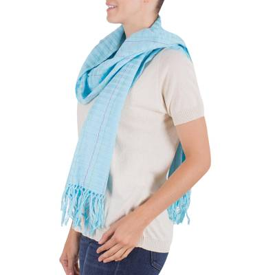 Cotton scarf, 'Morning Sky' - Handmade Blue Woven Cotton Scarf