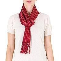 Cotton scarf, 'Scarlet Antigua' - Artisan Handloomed Red Copper Cotton Scarf