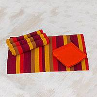 Cotton placemats and napkins, 'Casaca Fiesta' (set for 4) - Modern Cotton Placemats and Napkins (Set of 4)