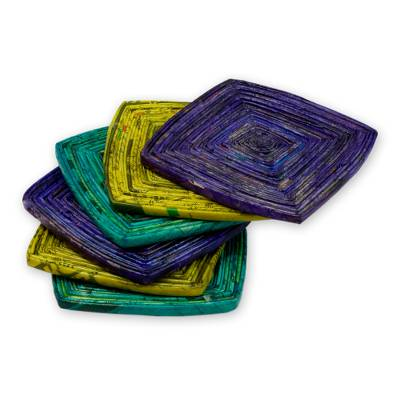 Recycled paper coasters, 'Tropical Glow' (set of 6) - Handcrafted Recycled Paper Coasters (Set of 6)