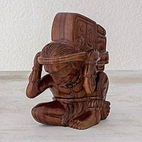 Wood sculpture, 'Maya Carrier of Time' - Unique Hand Carved Wood Sculpture