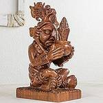 Mayan Agriculture Deity Wood Sculpture, 'Maya God of Maize'