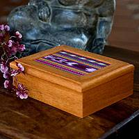 Cedar and cotton tea box, 'Maya Artistry' - Cedar and cotton tea box