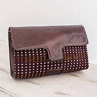 Cotton and leather accent clutch bag, 'Colotenango Huipil' - Cotton and leather accent clutch bag
