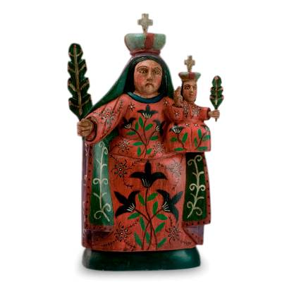 Wood sculpture, 'Our Lady of Candlemas' - Hand Carved Religious Wood Sculpture