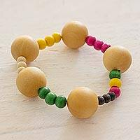 Wood stretch bracelet, 'Maya Cardinal Points' - Wood stretch bracelet