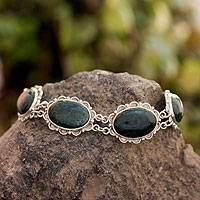 Jade link bracelet, 'Princess of the Forest' - Fair Trade Sterling Silver Green Jade Link Bracelet