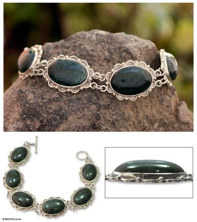 Jade link bracelet, 'Princess of the Forest' - Fair Trade Sterling Silver Green Jade Link Bracelet